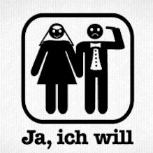Brautpaar mit Schrift - Ja, ich will - als T-Shirt Motiv zum bedrucken