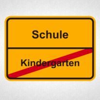 Ortseingangschild mit Kindergarten / Schule als T-Shirt Motiv zum bedrucken